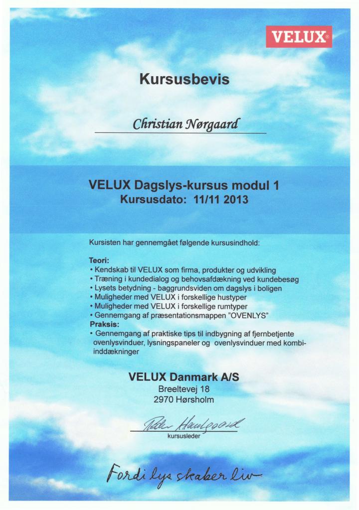 Velux certifikat